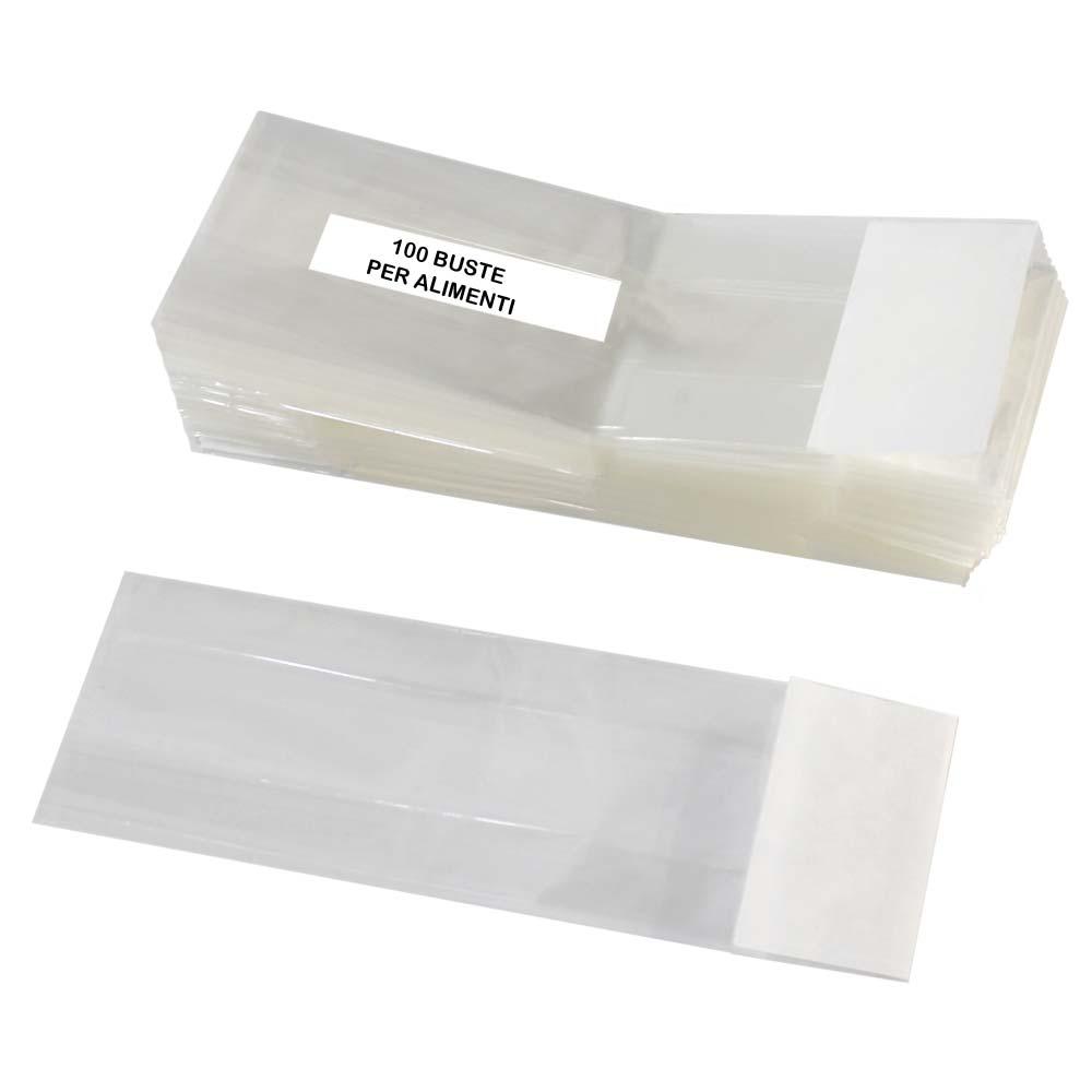 buste cellophane trasparente  Sacchetti in cellophane trasparenti per alimenti con fondo piatto bianco