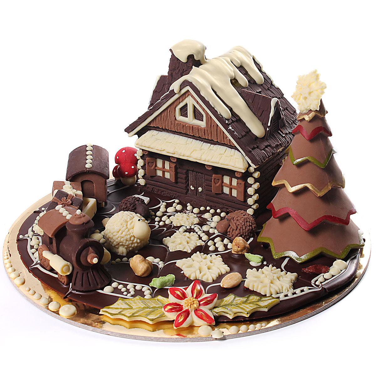 Creare Composizioni Per Natale baita di natale di cioccolato con trenino