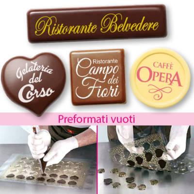 Preformati personalizzati da riempire per targhette e cioccolatini