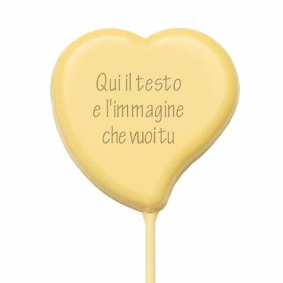 Lecca lecca di cioccolato personalizzati - Lecca Lecca di cioccolato Cuore - 38 g - 7,5 cm
