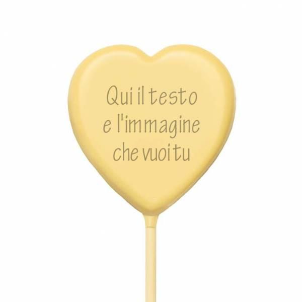 Lecca lecca di cioccolato personalizzati - Lecca di cioccolato Baby cuore - 20 g - 5,4 cm