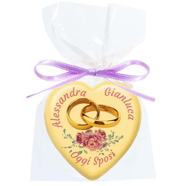 Cioccolatino bianco Cuore - 15 g - 5,4 cm - Cioccolatini personalizzati