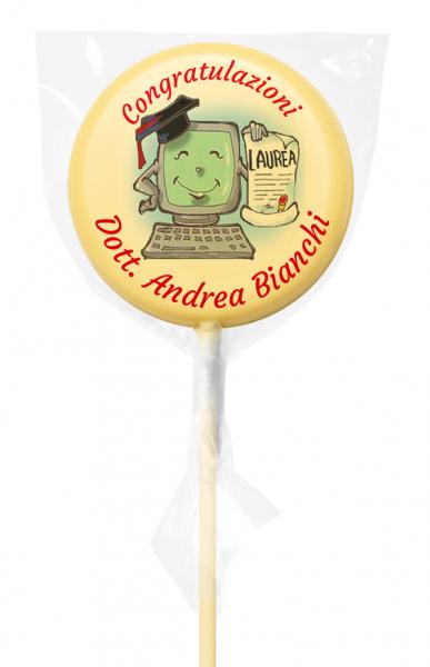 Lecca di cioccolato Baby tondo - 20 g - 5,4 cm - Lecca lecca di cioccolato personalizzati
