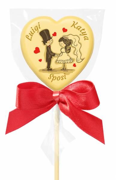 Lecca di cioccolato Baby cuore - 20 g - 5,4 cm - Lecca lecca di cioccolato personalizzati