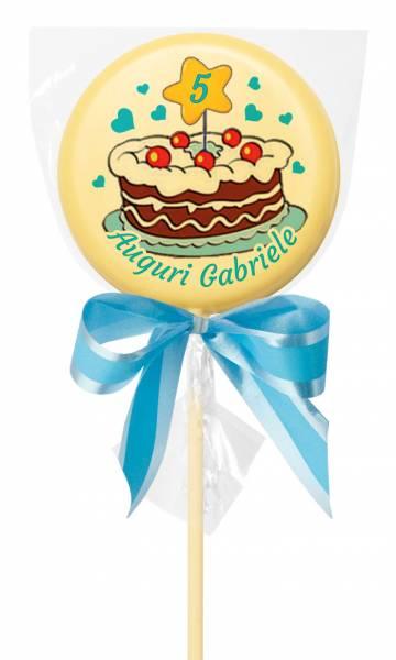 Lecca lecca di cioccolato personalizzati - Lecca Lecca di cioccolato tondo - 38 g - 7,5 cm