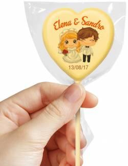 Cioccolatino personalizzato lecca lecca a forma di cuore