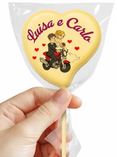 Lecca Lecca di cioccolato Cuore - 38 g - 7,5 cm - Lecca lecca di cioccolato personalizzati