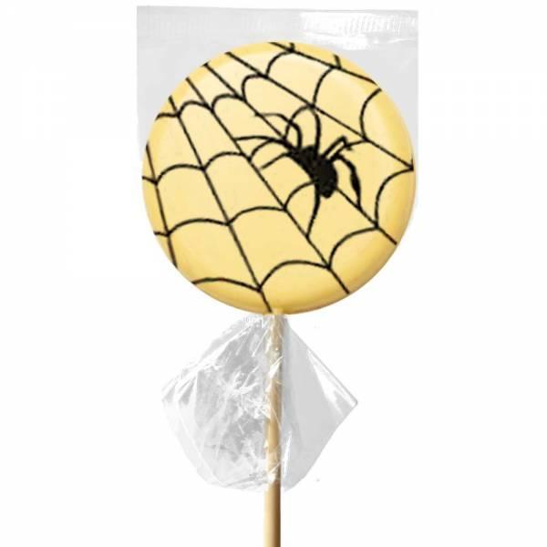 Lecca lecca di cioccolato bianco con la stampa della ragnatela di Halloween.