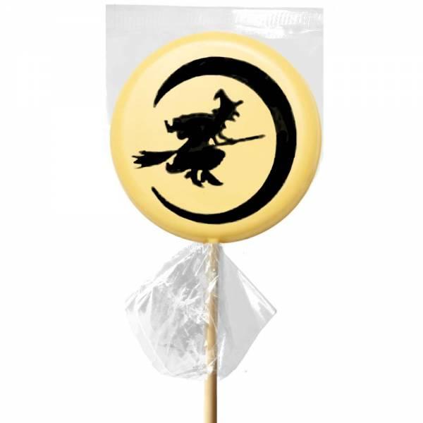 La notte di Halloween rappresentata sul Lecca lecca di cioccolato bianco.