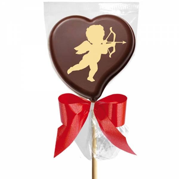 Lecca lecca di cioccolato con l'immagine di Cupido   è un messaggio che significa che l'amore ti ha colpito al cuore.