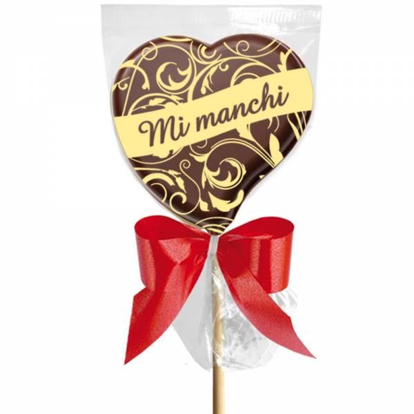 """""""Mi manchi"""" è un romantico MSG d'amore specialmente se lo scrivi su un lecca lecca di cioccolato."""