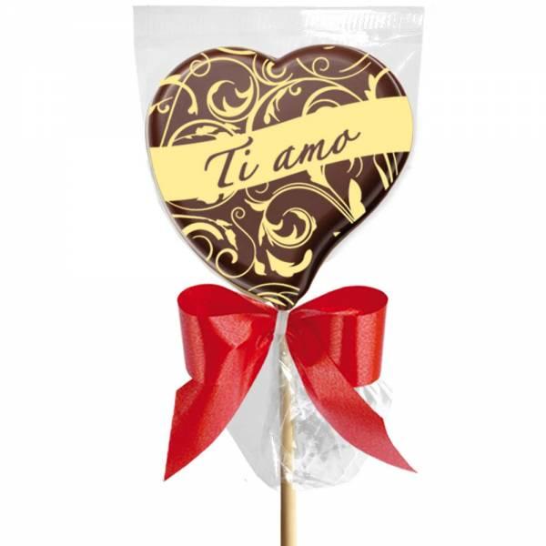 """Lecca lecca di cioccolato con un MSG molto impegnativo  """"Ti amo"""""""