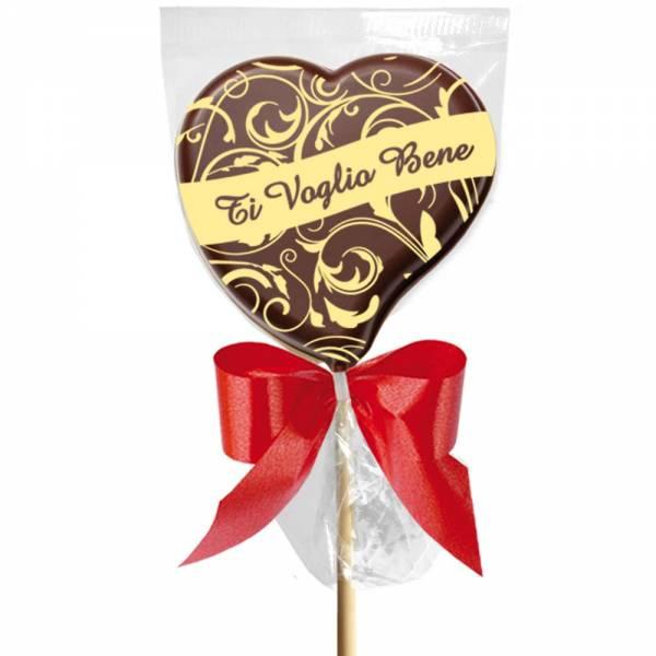 """""""Ti voglio bene"""" è un romantico MSG d'amore che vale di più se viene impresso su un goloso lecca lecca di cioccolato."""