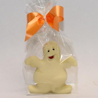 Confezione con Fantasmino di cioccolato bianco decorato a mano