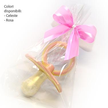 Ciuccio di cioccolato decorato a mano confezionato in sacchettino Crystal e fiocco twist in tinta.