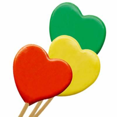 Lecca lecca di zucchero a forma di cuoricino in colori assortiti al gusto frutta