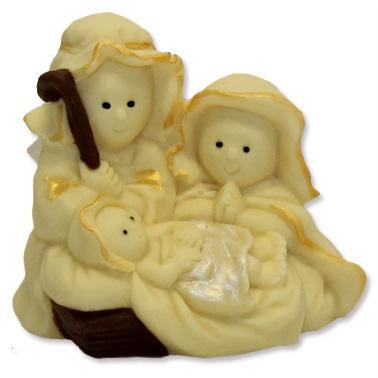 Sacra famiglia con Gesù, Maria e Giuseppe, realizzato in cioccolato bianco