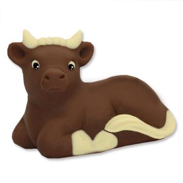 Il Bue è parte integrante del Presepe e questo soggetto è fatto di cioccolato.