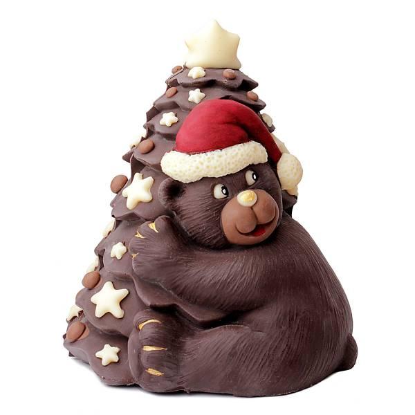 Orso di cioccolato con albero di Natale - Cioccolato di Natale