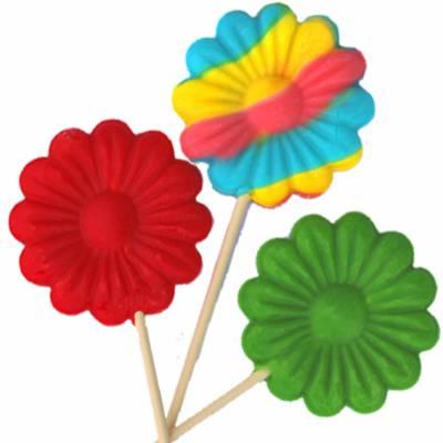 Lecca lecca di zucchero a forma di fiore colorato e o variegato al sapore di frutta