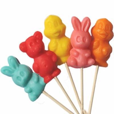 Lollipo di zucchero a forma di orsetto, coniglietto, paperella dai colori vivaci e al gusto frutta