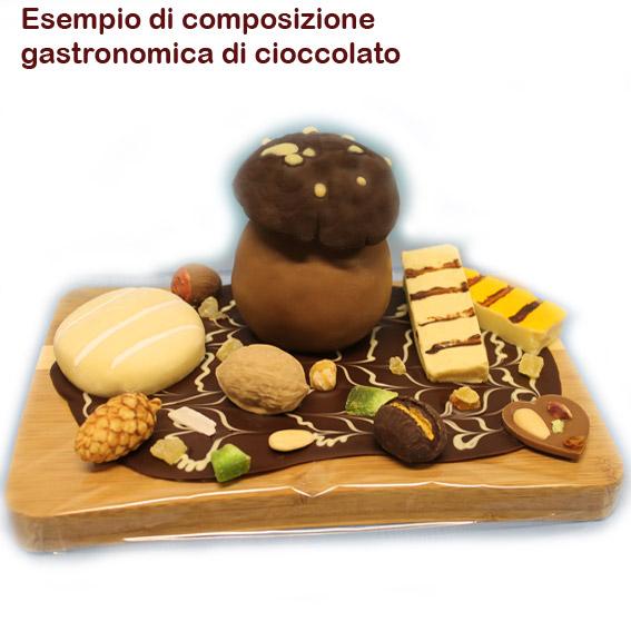 Assortimento gastronomico di cioccolato presentato su tagliere