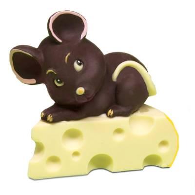 topolino-di-cioccolato-fondente-su-fetta-di-formaggio-di-cioccolato-bianco