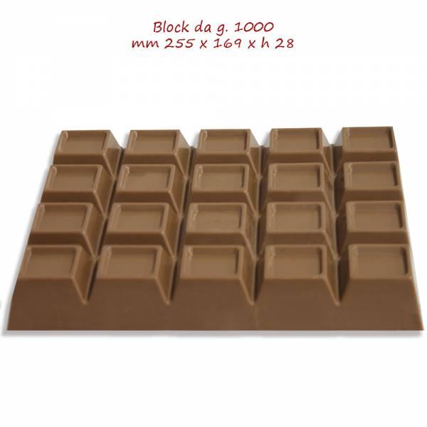 Block di cioccolato da kg 1 e puoi scegliere tra il Fondente, Bianco e Latte.