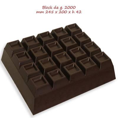 Block da 2 kg di cioccolato a scelta Bianco o Latte o Fondente.