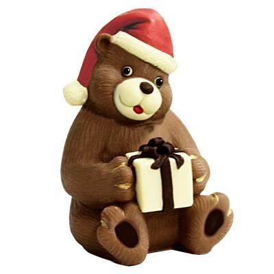 Orsacchiotto natalizio di cioccolato con pacchetto regalo