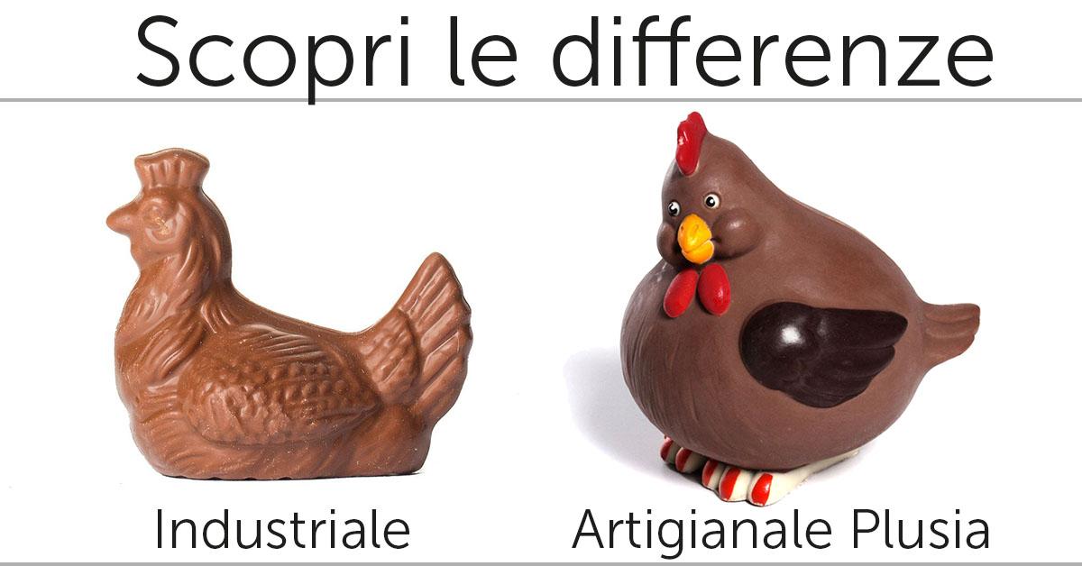 Scopri le differenze tra un Uovo di Pasqua artigianale Plusia e un prodotto industriale