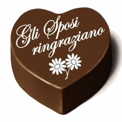 """Matrimonio - Cioccolatino cuore """"Gli Sposi Ringraziano"""""""