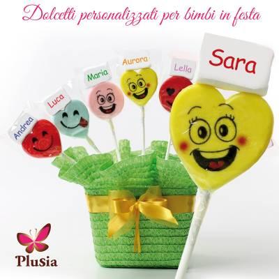 Lecca lecca smile più marshmallow personalizzato con il nome dei bimbi