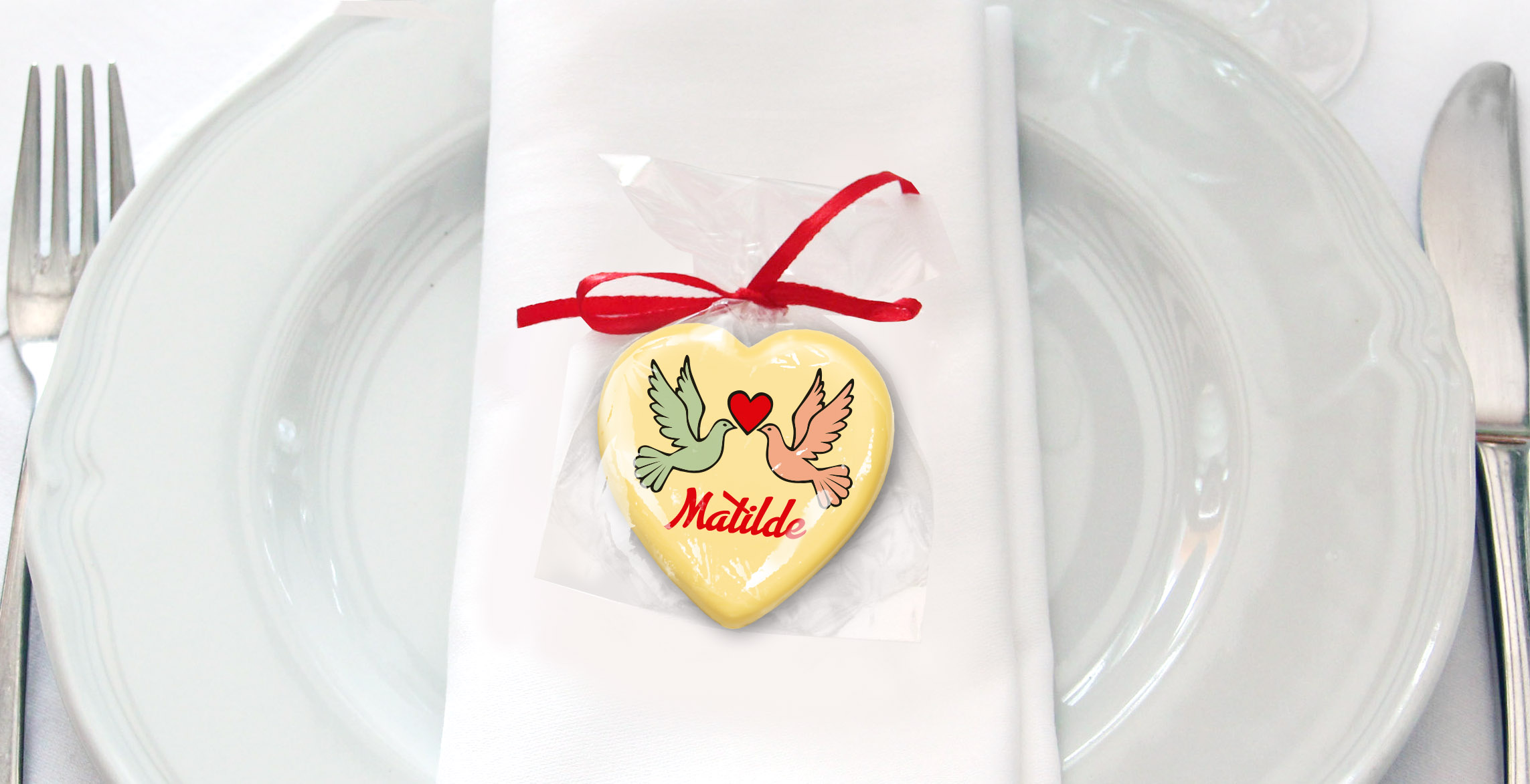 Cioccolatini segnaposto con il nome degli invitati - Plusia
