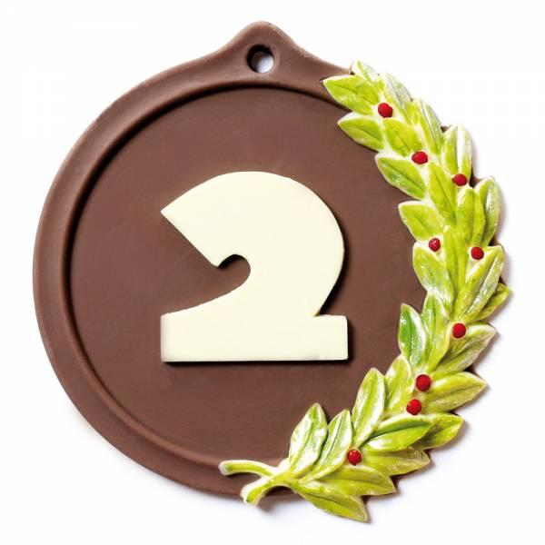 Medaglia il cui numero è sostituibile con scritta personalizzata: tutto di cioccolato