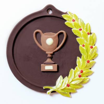 Medaglia di cioccolato finemente decorata a mano e personalizzabile