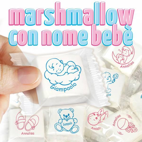 Marshmallow personalizzati con nome bebè - cm 3x3 - Battesimo e nascita