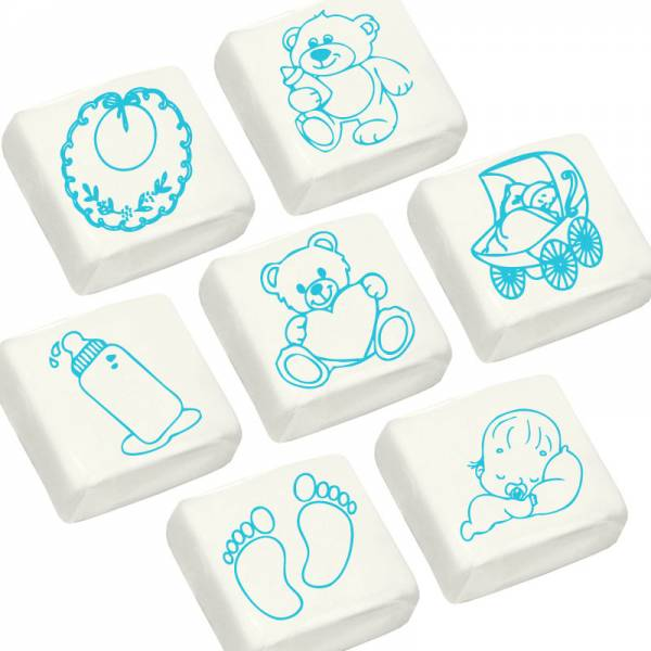 Marshmallow con scenette nascita e battesimo - cm 3x3 - Battesimo e nascita