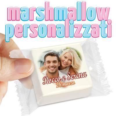 Matrimonio - Marshmallow sposi personalizzati - cm 4,5x4,5