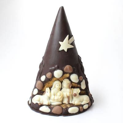 """Cioccolato Natale - """"Pino con Natività"""" ai tre cioccolati"""