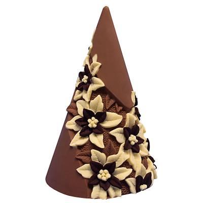"""Cioccolato Natale - """"Pino con Stelle di Natale"""" ai tre cioccolati"""