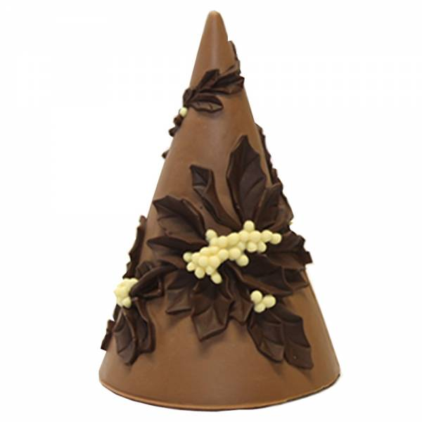 Albero di Natale con agrifoglio in rilievo di cioccolato