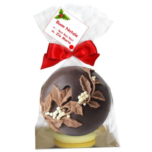 Agrifoglio su sfera natalizia di cioccolato - Cioccolato di Natale