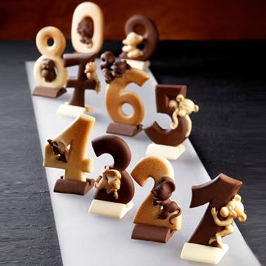 Compleanno - Numeri di cioccolato con basetta