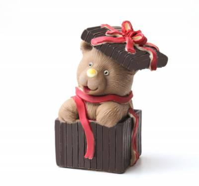 Cioccolato Natale - Orsetto regalorso di cioccolato