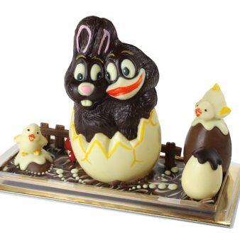 Uovo di Pasqua artigianale Coppia Coniglio e Papera di cioccolato