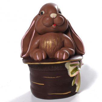 Uovo di Pasqua artigianale Coniglio nel cappello