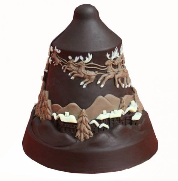 Campana con Babbo Natale e renne ai tre cioccolati - Cioccolato di Natale