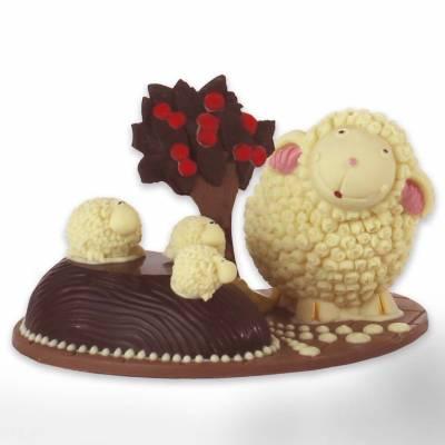 Composizione-pasquale-di-cioccolato-Agnelli-al-pascolo-con-cespuglio-12005